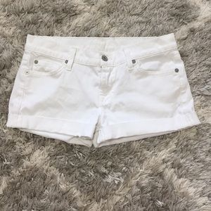 7 For All Mankind White Cuffed Jean Shorts